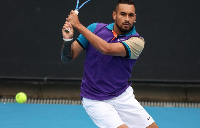 Nick Kyrgios in action at the Murray River Open today. Picture: Tennis Australia