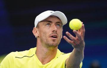 John Millman serves during his ATP Cup match yesterday. Picture: Tennis Australia