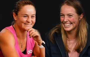 Ash Barty and Olivia Gadecki speaking to media this week. Pictures: Tennis Australia