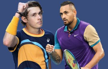 PROUD AUSSIES: Alex de Minaur and Nick Kyrgios. Picture: Tennis Australia