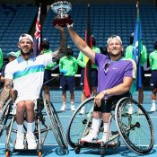 Dylan Alcott and Heath Davidson celebrate their fourth Australian Open doubles victory at AO 2021,