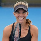 Maddison Inglis at a training session ahead of Australian Open 2021.