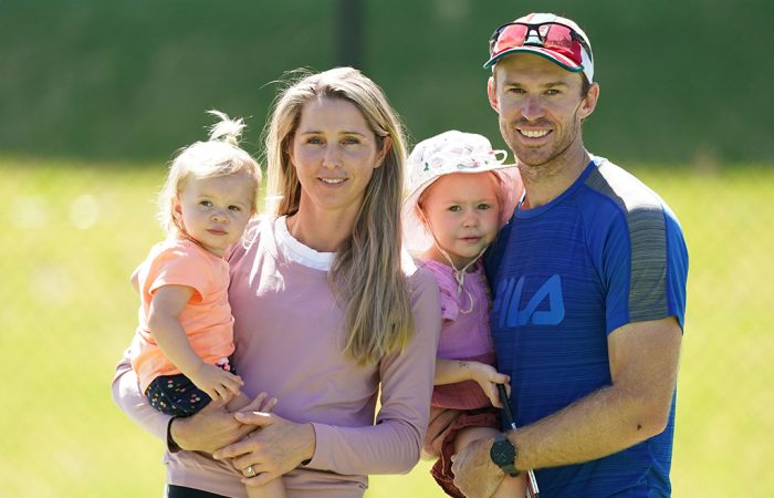 John Peers with wife Danielle and daughters Elli and Harper