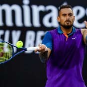 Nick Kyrgios competes at the Murray River Open.