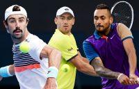AUSSIE HOPES: Jordan Thompson, John Millman and Nick Kyrgios. Pictures: Tennis Australia
