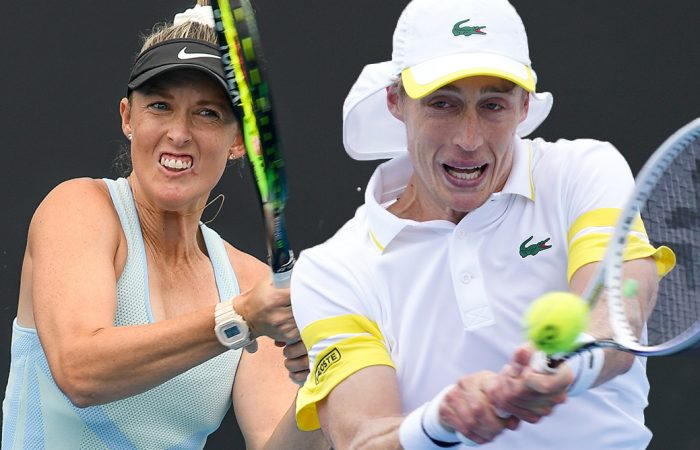 Storm Sanders and Marc Polmans are into the Australian Open 2021 mixed doubles quarterfinals. Pictures: Tennis Australia