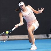 Ajla Tomljanovic competes at John Cain Arena on Day One of AO 2021.