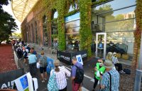 Crowds outside Memorial Drive Tennis Centre in Adelaide last month. Picture: Tennis Australia