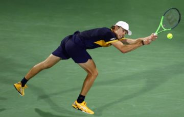Alex de Minaur in action in Dubai. Picture: Getty Images