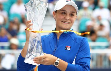 Ash Barty with her Miami Open title in 2019. Picture: Getty Images