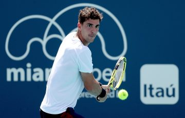 Thanasi Kokkinakis during his first-round win in Miami. Picture: Getty Images
