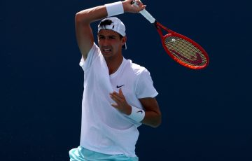 Alexei Popyrin in action at the Miami Open. Picture: Getty Images