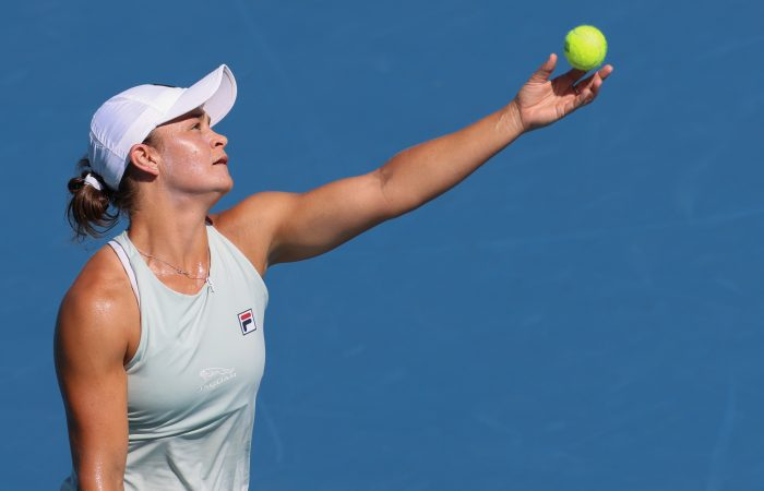 Ash Barty serves during her fourth-round win in Miami. Picture: Getty Images