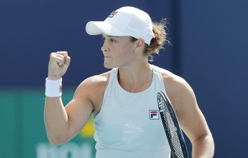 Ash Barty celebrates in Miami. Picture: Getty Images