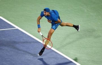 Alexei Popyrin in action in Dubai. Picture: Getty Images