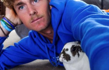 Max Purcell with his pet rabbit. Picture: Instagram