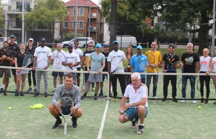 Australian players and coaches welcomed a group of refugees to  Victorian Tennis Academy, Fawkner Park Tennis Centre; photo courtesy Maggie Garcia Pena