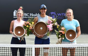 Aussies Storm Sanders, Astra Sharma and Ellen Perez with their trophies in Charleston. Picture: Volvo Car Open Twitter