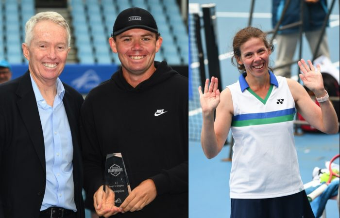 Tennis Australia CEO Craig Tiley with Archie Wren and Kelly Wren at the Australian Tennis Championships.