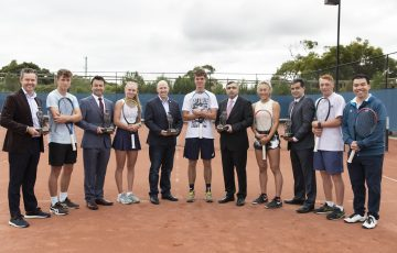 Grand Slam champion Todd Woodbridge, Jack Loutit (NZ), Bekir Kilic ( Principal Partner – CEO of PRO IT), Taylah Preston, Jamie Twidale (RSL Vic CEO), Cooper White, Eser Torun (Consul General for the Republic of Turkey),  Vivian Yang (NZ), Umit Oraloglu (Gallipoli Youth Cup founder), Edward Winter and Francis Soyer (Tournament Director) at the Gallipoli Youth Cup launch. Picture: Fiona Hamilton, Tennis Australia