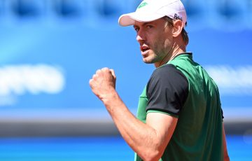 John Millman celebrates his Munich victory against Alexei Popyrin. Picture: Getty Images