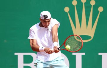 Alexei Popyrin fires a backhand in Monte-Carlo. Picture: Getty Images