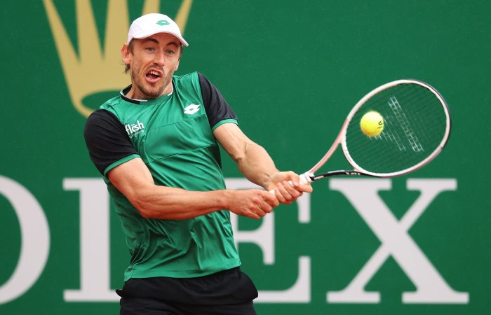 John Millman in action at the Monte-Carlo Masters. Picture: Getty Images