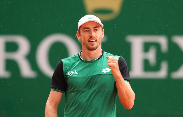 John Millman celebrates his first-round win at Monte-Carlo. Picture: Getty Images