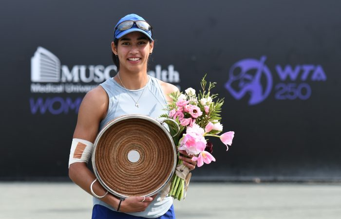 Astra Sharma with her Charleston title. Picture: Volvo Car Open