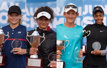CHAMPIONS: Cruz Hewitt, Tahlia Kokkinis, Charlie Camus and Lily Taylor won the Australian Junior Claycourt Championships singles titles. Pictures: Anastasia Kachalkova