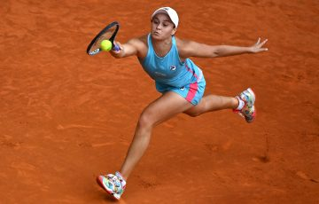 Ash Barty stretches for a forehand during the Madrid final. Picture: Getty Images