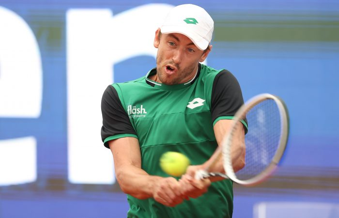 John Millman in action in his Munich quarterfinal. Picture: Getty Images