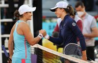 Ash Barty and Iga Swiatek after their third-round battle in Madrid. Picture: Getty Images