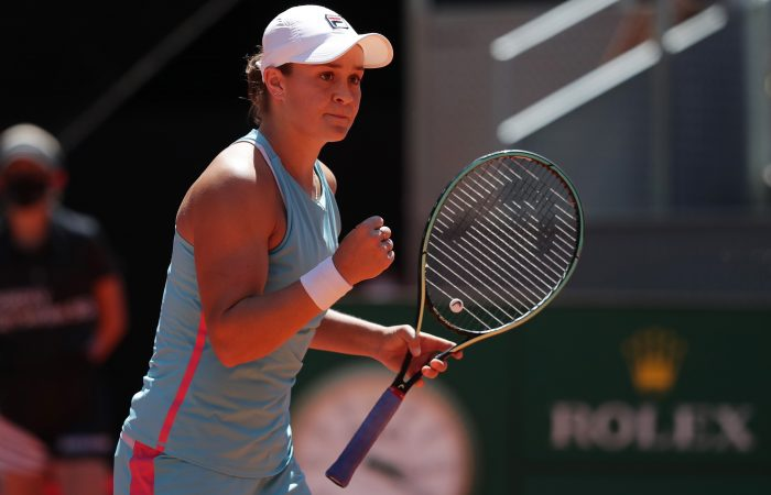 Ash Barty celebrates her quarterfinal win in Madrid. Picture: Getty Images