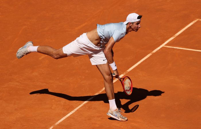 Alexei Popyrin serves during his Madrid third-round run. Picture: Getty Images
