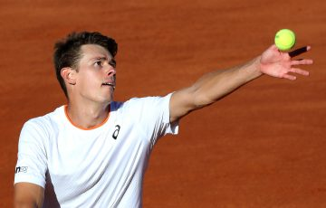 Alex de Minaur serves in Rome. Picture: Getty Images