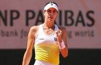 MOVING ON: Ajla Tomljanovic celebrates her first-round victory at Roland Garros. Picture: Getty Images
