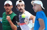 AUSSIE HOPES: John Millman, Jordan Thompson and Alexei Popyrin. Pictures: Tennis Australia