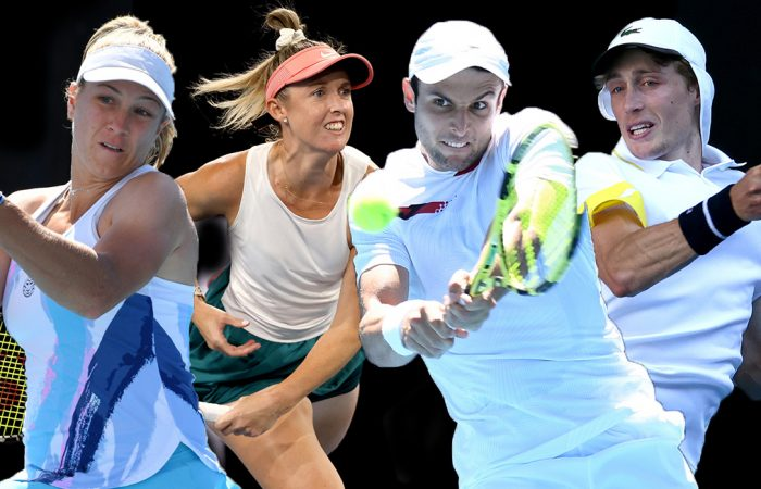 AUSSIE HOPES: Ellen Perez, Storm Sanders, Aleksandar Vukic and Marc Polmans have all reached the final qualifying round at Roland Garros. Pictures: Tennis Australia