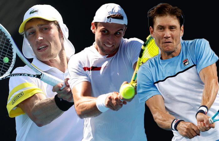 AUSSIE HOPES: Marc Polmans, Aleksandar Vukic and Matt Ebden will contest qualifying at Roland Garros 2021. Pictures: Tennis Australia