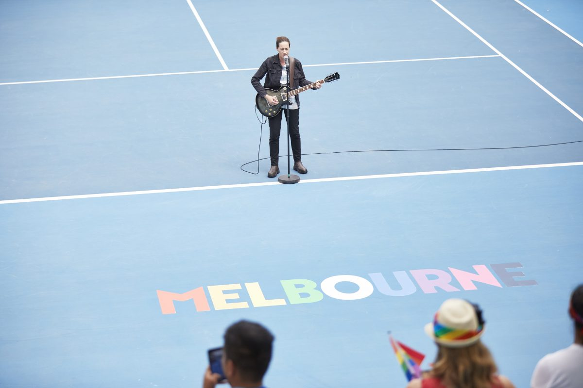 Seth Garth performing the Australian national anthem during the Glam Slam finals at Australian Open 2020. Picture: Tennis Australia