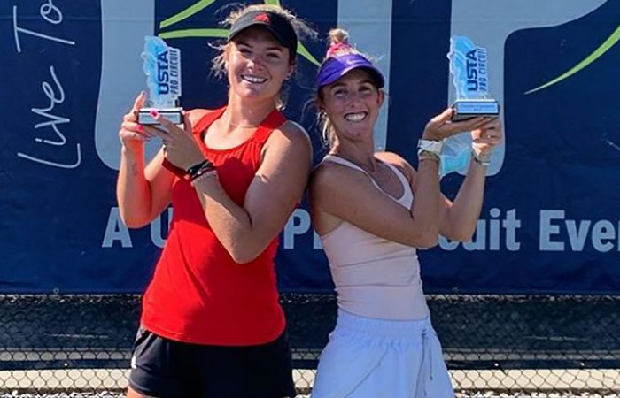 Storm Sanders, right, celebrates winning an ITF doubles title with American Caty McNally. Picture: Instagram