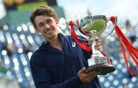 Alex de Minaur with his Eastbourne trophy. Picture: Getty Images