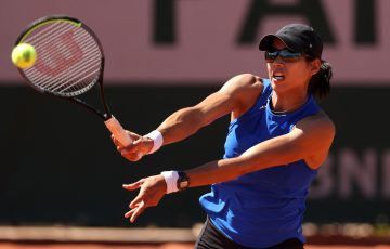 Astra Sharma during her first-round win at Roland Garros. Picture: Getty Images