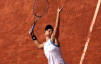 Ash Barty serves during her first-round match at Roland Garros 2021. Picture: Getty Images