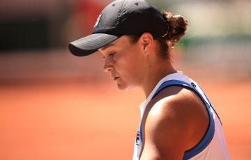 A disappointed Ash Barty at Roland Garros. Picture: Getty Images