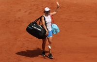 Australia's Ash Barty waves to the crowd as she exits Roland Garros. Picture: Getty Images