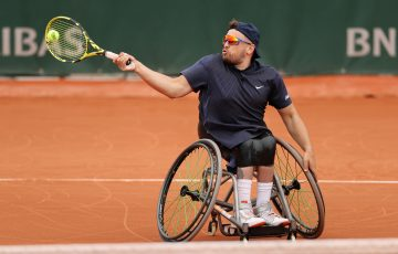 Dylan Alcott in action at Roland Garros. Picture: Getty Images