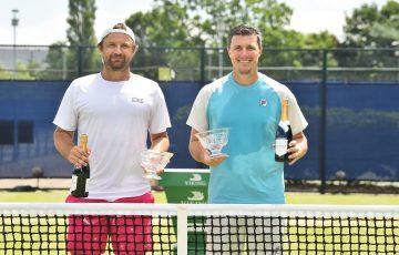Australia's Matt Reid, left, celebrates winning an ATP Challenger doubles title in Nottingham alongside Brit Ken Skupski. Picture: Getty Images