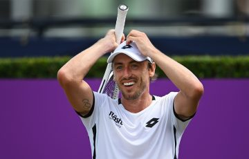 John Millman celebrates his first-round win at Queen's Club. Picture: Getty Images